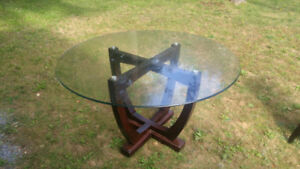Glass Dining Table With 4 Leather Chairs from Leons 200 OBO