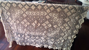 Vintage Crocheted? Tablecloth - Beige-Champagne in Colour