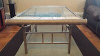 Wrought Iron glass table with marble inserts **ONLY $250**