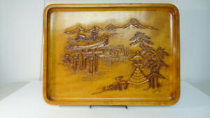 Japanese Carved Wooden Tray