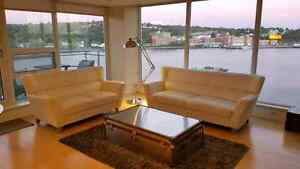 White top grade leather sofa couch and loveseat