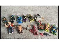 12 various teenage mutant ninja turtle figures