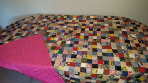 Antique precision hand-stitched silk quilt
