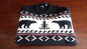 RALPH LAUREN MEN'S SWEATER XL X LARGE COTTON CHAPS NORDIC BLACK
