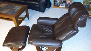 Beautiful Leather Chair with Ottoman
