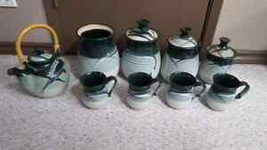 Ceramic tea set and canisters
