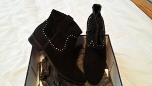 Size 11, New Black Studded Suede Ankle Boot