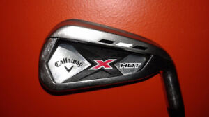 Callaway Right handed used X Hot irons 5 through Pitching wedge.