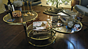 RARE VINTAGE! 1980s! Newly-brassed! Swivel table!