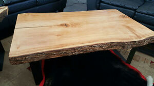 live edge maple coffee table and end table