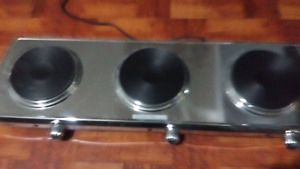Stainless steel Electric 3 piece burner.