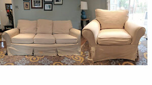 "Pottery Barn ""PB Basic"" Couch/Sofa & Chair - $375 OBO for BOTH"