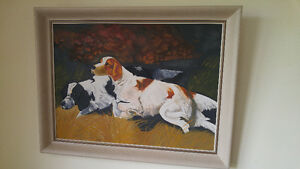 Vintage Paint By Numbers Hunting Dogs Framed Pointer Painting 70