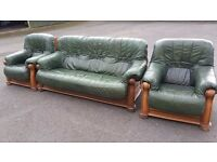 3 piece green leather suite
