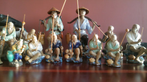 Chinese Mudman Fishermans Figurines