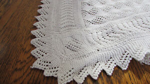 "Vintage Finely Hand Crochet 52x78"" Coverlet for Bed or Table"