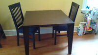 Ebony Wood Dining Set, Two Chairs Included