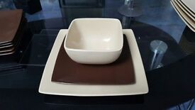 Brown and Cream stoneware plates and bowls