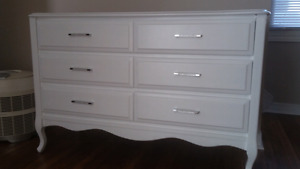 White   Six  Drawer  Dresser  With  Bling