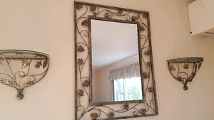 Silver mirror with two matching shelves