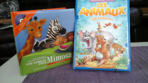 2 French Language Animal storyies- 1 Book with CD