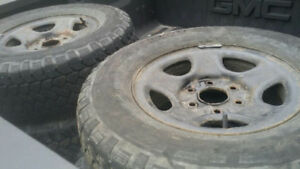 """Set of 4 winter tires and rims for gmc truck 6 bolt rims 16"""""""