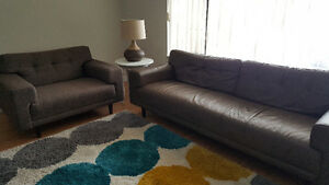 EQ3 Mid Century Modern Couch & Chair
