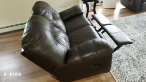 Dark Brown Leather Love-Seat Recliner