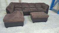 (Free Delivery) - Brown Microfiber Sectional Sofa w/ ottoman