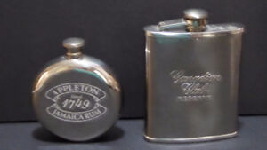 2 STAINLESS STEEL SILVER FLASKS - RECTANGULAR / ROUND SHAPED