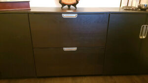 Galant Black Brown Lockable 2 Drawer Horizontal File Cabinet