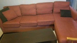 Two Part Red Couch with 6 Beautiful Wood Chairs