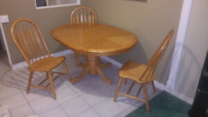 Great condition Oak table and 3 Chairs