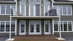 Solid iron deck with railing and composite decking