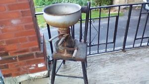 ANTIQUE MINIATURE CREAMER MOUNTED ON WOOD CHAIR