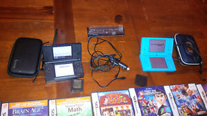 1 dslite and 1 dsi with case/ charger and 40 games