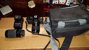 Yashica 35mm with lens, bags