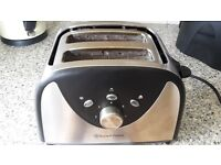Brushed steel and black Russell Hobbs toaster and kettle