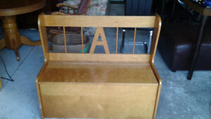 Solid wood hall bench with storage