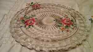 PRESSED GLASS CAKE PLATE