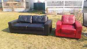 Couch/chair/glass table with 3 chairs