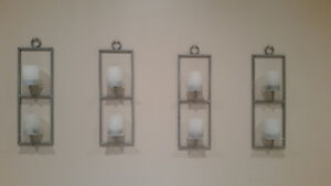 4 Iron & Glass Wall Candles