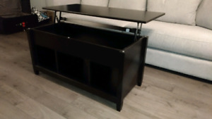 Black lift top coffee table with storage