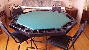 TABLE DE POKER PLIANTE!!! AVEC 4 CHAISES EMPILABLES!!
