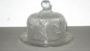 PINWHEEL CRYSTAL BUTTER SERVING DISH WITH COVER