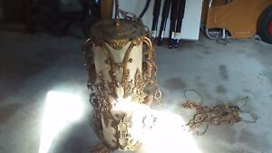 VINTAGE UNIQUE GOLD HANGING LAMP STRAIGHT OUT OF A HOTEL