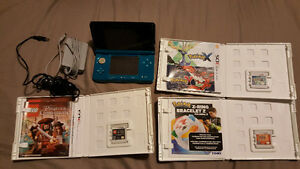Blue Nintendo 3ds + 8gb memory card + two chargers + game