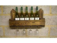 Rustic Wall Mounted Wine / Glass Rack / Holder
