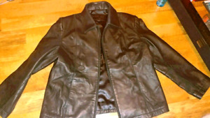 WOMENS LEATHER JACKET DARK BROWN SOFT LEATHER