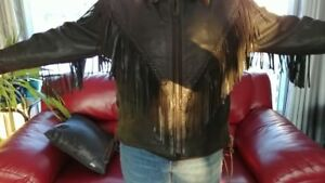 Vintage Ladies Leather Fringed Biker Jacket